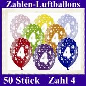 Luftballons mit der Zahl 4 zum 4. Geburtstag, 50 Stück, bunt gemischt, 30-33 cm