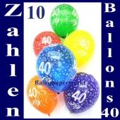 Zahlen-Luftballons Zahl 40 zum 40. Geburtstag, 10 Stück