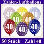 Luftballons mit der Zahl 40 zum 40. Geburtstag, 50 Stück, bunt gemischt, 30-33 cm