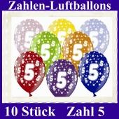 Luftballons mit der Zahl 5 zum 5. Geburtstag, 10 Stück, bunt gemischt, 30-33 cm