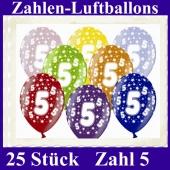 Luftballons mit der Zahl 5 zum 5. Geburtstag, 25 Stück, bunt gemischt, 30-33 cm