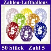 Luftballons mit der Zahl 5 zum 5. Geburtstag, 50 Stück, bunt gemischt, 30-33 cm