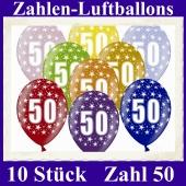 Luftballons mit der Zahl 50 zum 50. Geburtstag, 10 Stück, bunt gemischt, 30-33 cm