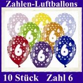 Luftballons mit der Zahl 6 zum 6. Geburtstag, 10 Stück, bunt gemischt, 30-33 cm