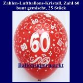 Zahlen-Luftballons, Zahl 60, 25 Stück