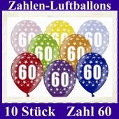Luftballons mit der Zahl 60 zum 60. Geburtstag, 10 Stück, bunt gemischt, 30-33 cm