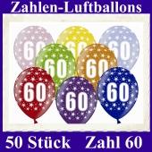Luftballons mit der Zahl 60 zum 60. Geburtstag, 50 Stück, bunt gemischt, 30-33 cm