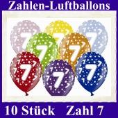Luftballons mit der Zahl 7 zum 7. Geburtstag, 10 Stück, bunt gemischt, 30-33 cm