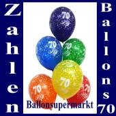 Luftballons mit der Zahl 70 zum 70. Geburtstag, 10 Stück