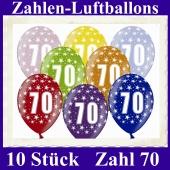 Luftballons mit der Zahl 70 zum 70. Geburtstag, 10 Stück, bunt gemischt, 30-33 cm