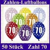 Luftballons mit der Zahl 70 zum 70. Geburtstag, 50 Stück, bunt gemischt, 30-33 cm