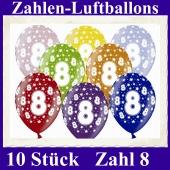 Luftballons mit der Zahl 8 zum 8. Geburtstag, 10 Stück, bunt gemischt, 30-33 cm
