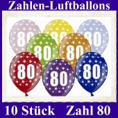 Luftballons mit der Zahl 80 zum 80. Geburtstag, 10 Stück, bunt gemischt, 30-33 cm