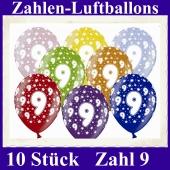 Luftballons mit der Zahl 9 zum 9. Geburtstag, 10 Stück, bunt gemischt, 30-33 cm