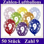 Luftballons mit der Zahl 9 zum 9. Geburtstag, 50 Stück, bunt gemischt, 30-33 cm