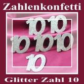 Zahlendekoration Glitter-Konfetti, Zahl 10