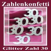 Zahlendekoration Glitter-Konfetti, Zahl 30