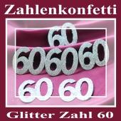 Zahlendekoration Glitter-Konfetti, Zahl 60