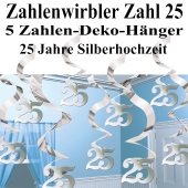 Zahlenwirbler, Zahlendekoration, silber, Zahl 25, zur Silbernen Hochzeit