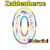Zahlenkerze Zahl 0, Colorful Candle, zu Geburtstag, Jubiläum und Kindergeburtstag