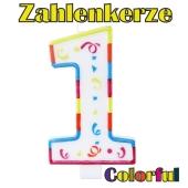 Zahlenkerze Zahl 1, Colorful Candle, zu Geburtstag, Jubiläum und Kindergeburtstag