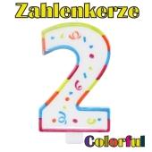 Zahlenkerze Zahl 2, Colorful Candle, zu Geburtstag, Jubiläum und Kindergeburtstag