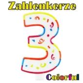 Zahlenkerze Zahl 3, Colorful Candle, zu Geburtstag, Jubiläum und Kindergeburtstag