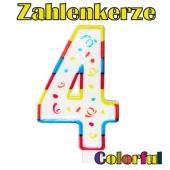 Zahlenkerze Zahl 4, Colorful Candle, zu Geburtstag, Jubiläum und Kindergeburtstag