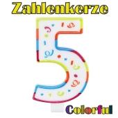 Zahlenkerze Zahl 5, Colorful Candle, zu Geburtstag, Jubiläum und Kindergeburtstag