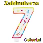 Zahlenkerze Zahl 7, Colorful Candle, zu Geburtstag, Jubiläum und Kindergeburtstag