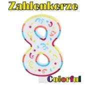 Zahlenkerze Zahl 8, Colorful Candle, zu Geburtstag, Jubiläum und Kindergeburtstag