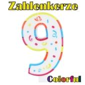 Zahlenkerze Zahl 9, Colorful Candle, zu Geburtstag, Jubiläum und Kindergeburtstag