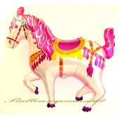 Zirkuspferd, Luftballon aus Folie mit Helium Ballongas, Rosa