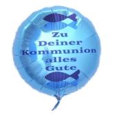 Zu Deiner Kommunion alles Gute, türkiser Luftballon aus Folie mit Helium