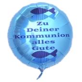Zu Deiner Kommunion alles Gute, türkiser Luftballon aus Folie ohne Helium