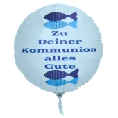Zu Deiner Kommunion alles Gute, weißer Luftballon aus Folie mit Helium