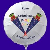 Zum 1. Schultag, personalisierter Luftballon aus Folie mit Namen des Schülers, weißer Rundballon mit Ballongas-Helium