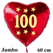 Großer roter Herzluftballon in Rot mit Ballongas Helium zum 100. Geburtstag, Zahl 100, Stars