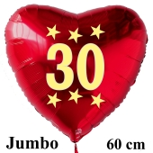 Großer roter Herzluftballon in Rot mit Ballongas Helium zum 30. Geburtstag, Zahl 30, Stars