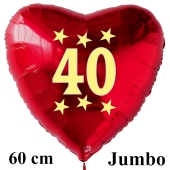 Großer roter Herzluftballon in Rot mit Ballongas Helium zum 40. Geburtstag, Zahl 40, Stars