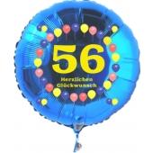 Luftballon aus Folie zum 56. Geburtstag, blauer Rundballon, Zahl 56, Balloons, Herzlichen Glückwunsch, inklusive Ballongas