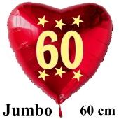 Großer roter Herzluftballon in Rot mit Ballongas Helium zum 60. Geburtstag, Zahl 60, Stars