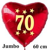 Großer roter Herzluftballon in Rot mit Ballongas Helium zum 70. Geburtstag, Zahl 70, Stars