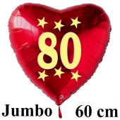 Großer roter Herzluftballon in Rot mit Ballongas Helium zum 80. Geburtstag, Zahl 80, Stars