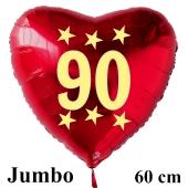 Großer roter Herzluftballon in Rot mit Ballongas Helium zum 90. Geburtstag, Zahl 90, Stars