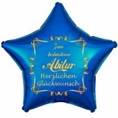 Zum bestandenen Abitur Herzlichen Glückwunsch, blauer Stern-Luftballon aus Folie mit Helium Ballongas