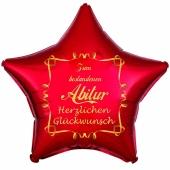 Zum bestandenen Abitur Herzlichen Glückwunsch, roter Stern-Luftballon aus Folie mit Helium Ballongas