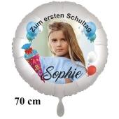 Großer Fotoballon zur Einschulung, zum 1. Schultag. Ballon in Weiß mit Foto und Namen des Schulkindes zur Einschulung