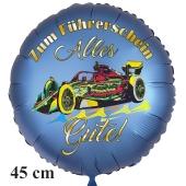 Zum Führerschein Alles Gute! Satinblauer Luftballon, 45 cm, inklusive Helium