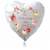 Zum Hochzeitstag Alles Gute! Weißer Herzluftballon aus Folie, 45 cm, ohne Helium